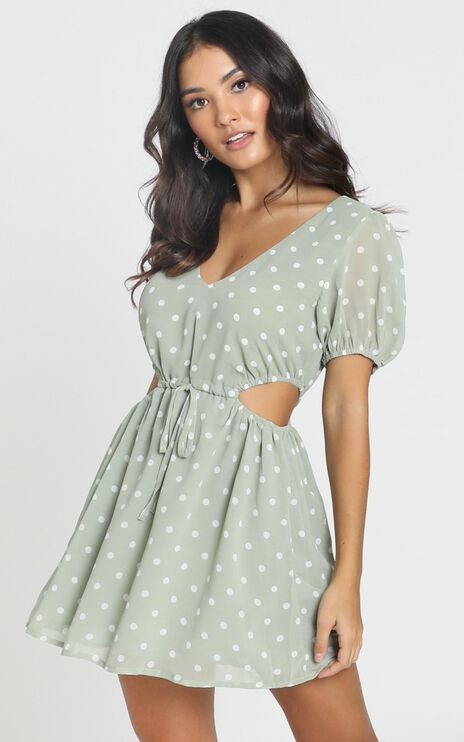 Guinevere Dress in Green Spot