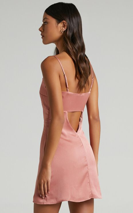 Kenzin Dress in Blush Satin