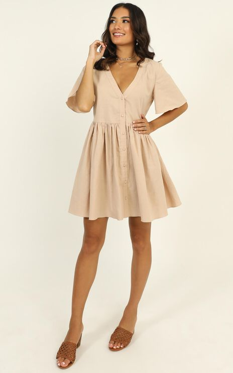 Staycation Dress In Beige