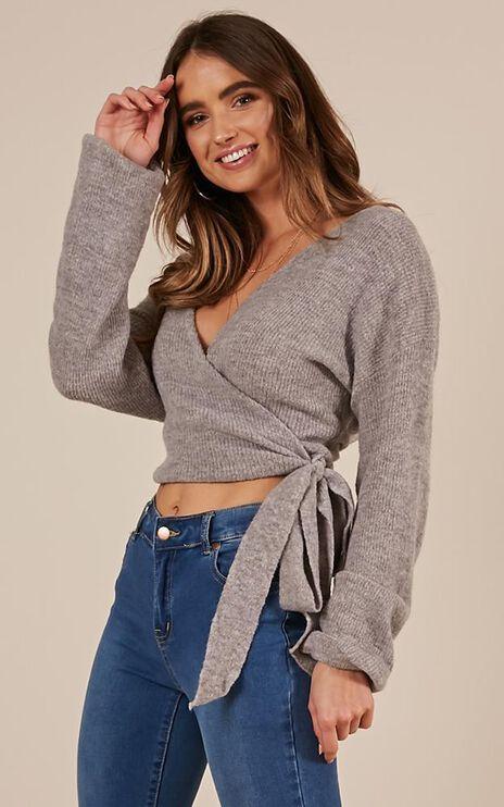 Always Around Knit Top In Grey