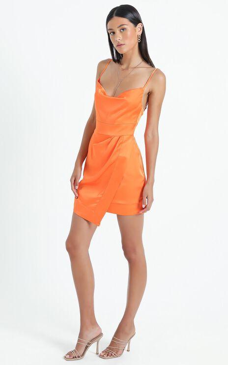 Naesa Dress in Orange Satin