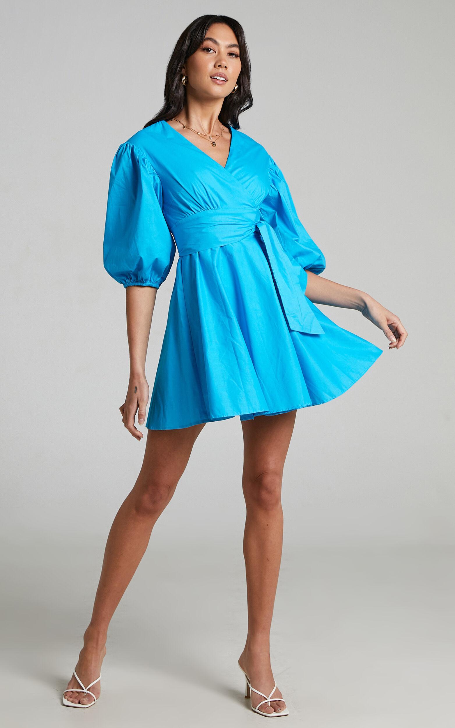 Zyla Puff Sleeve Wrap Mini Dress in Blue - 04, BLU3, super-hi-res image number null
