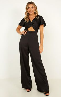 The Way You Are Jumpsuit In Black Satin