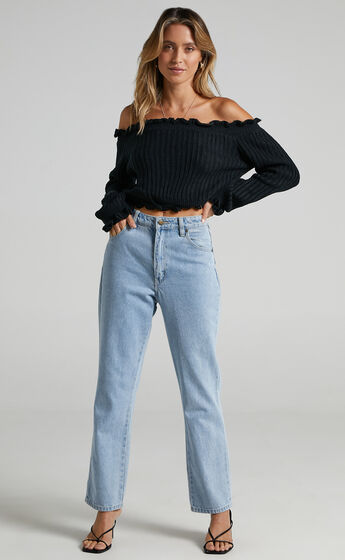 Caught You Staring Knit Jumper in Black