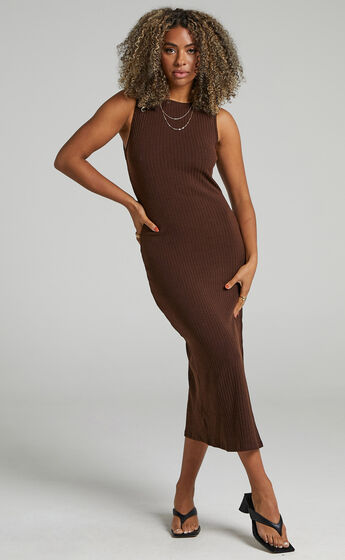Irenie Bodycon Midi dress in Chocolate
