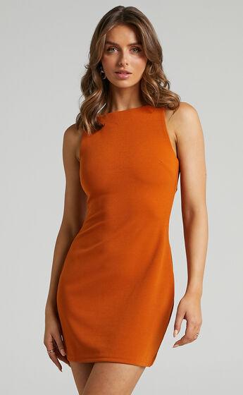 Bindi Boat Neck Bodycon Mini Dress in Burnt Orange