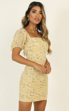 Citrus Memories Dress In Lemon Floral