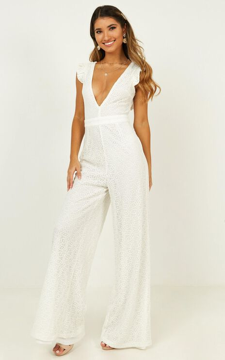 If You Wanna Jumpsuit In White Lace
