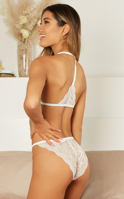 Silky Sweet Bralette Set in white lace - 14 (XL), White, hi-res image number null