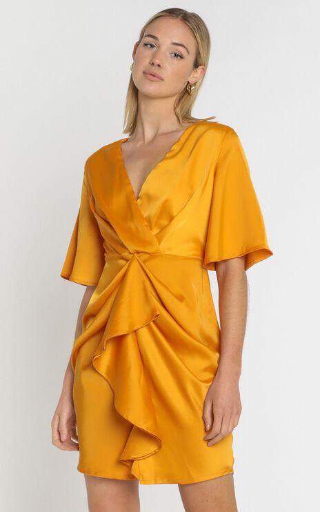 Spread Your Love Dress In Tangerine Satin