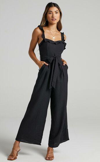 Cynthia Ruffle Jumpsuit in Black