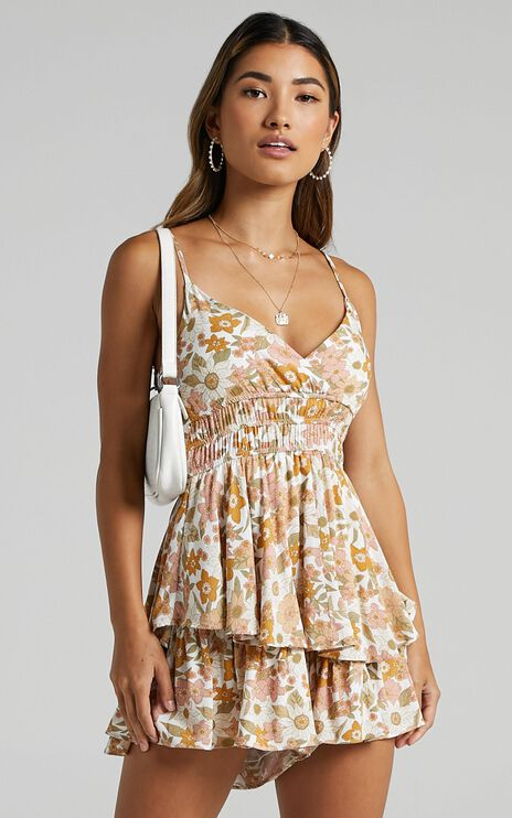 Fion Playsuit In White Floral