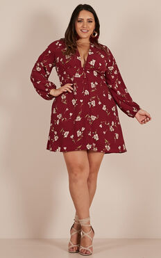 Pick A Place Dress In Wine Floral