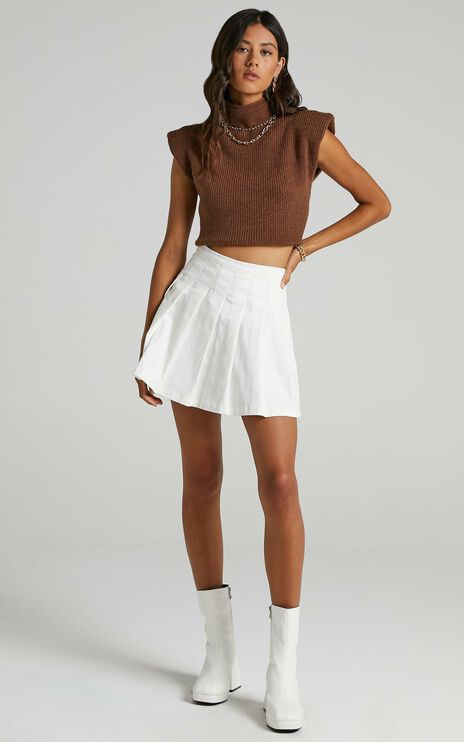 Cailin Pleated Skirt in White