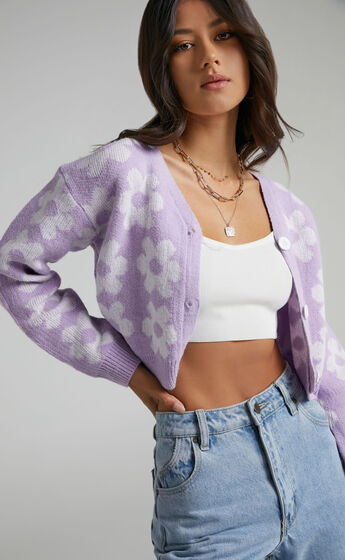 Daisy Flowers Button Up Knit Cardigan in Lilac Lilac