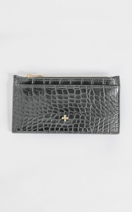 Peta and Jain - Marley Card Holder in Black Croc
