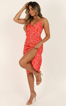 Feeling Fun Dress In Red Floral Satin