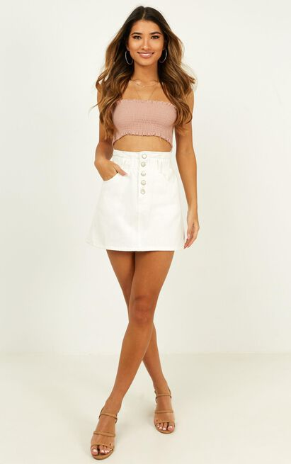 Shes Done Denim skirt in white wash - 20 (XXXXL), White, hi-res image number null