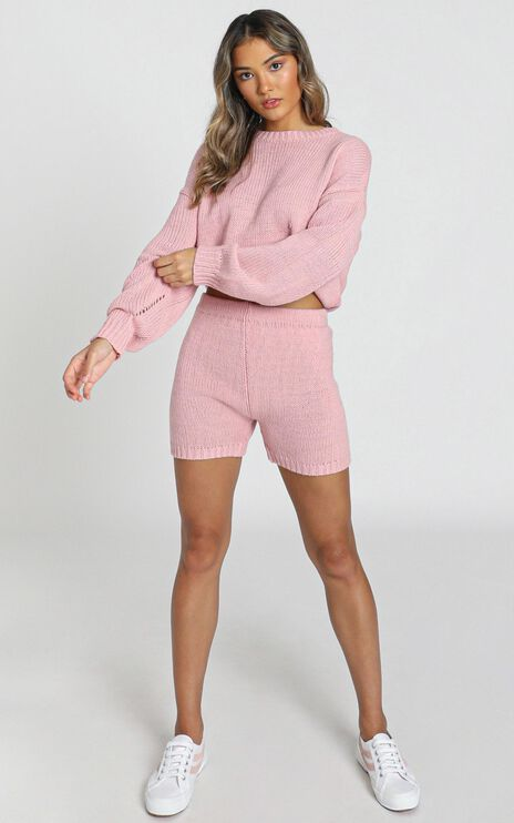 Loretta Knitted Shorts in Rose