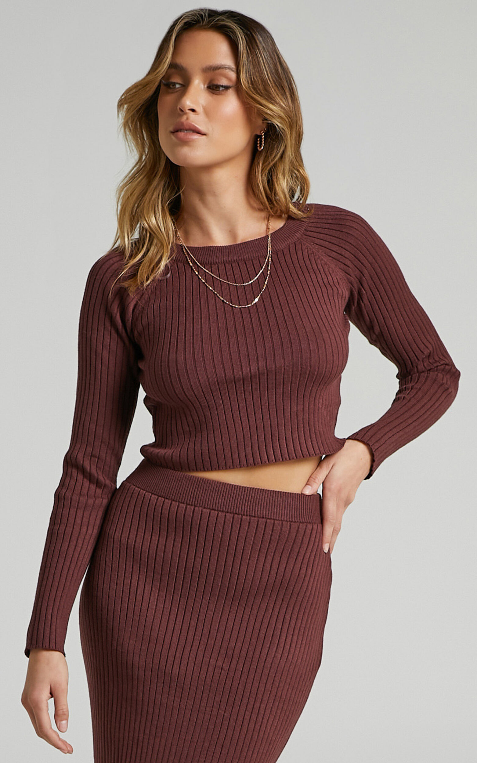 Yolanda Long Sleeve Open Back Knit Top in Chocolate - L, BRN1, super-hi-res image number null