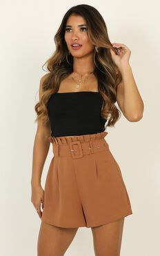 Only For Your Eyes Shorts In Camel