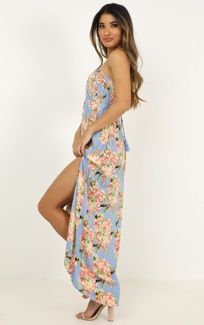 What You See dress in blue floral - 12 (L), Blue, hi-res image number null