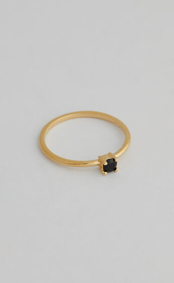 SAINT VALENTINE - BLACK QUARTZ RING in Gold