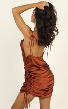 Lioness - String Along Dress In Rust Satin