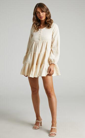Amalia Long Sleeve Mini Smock Dress in Cream