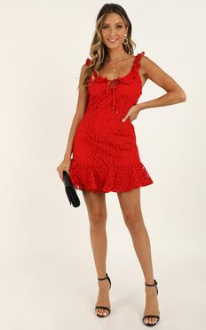 Hear The Answer Dress In Red Lace