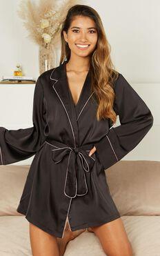 Ellena Bridesmaid Robe In Black Satin