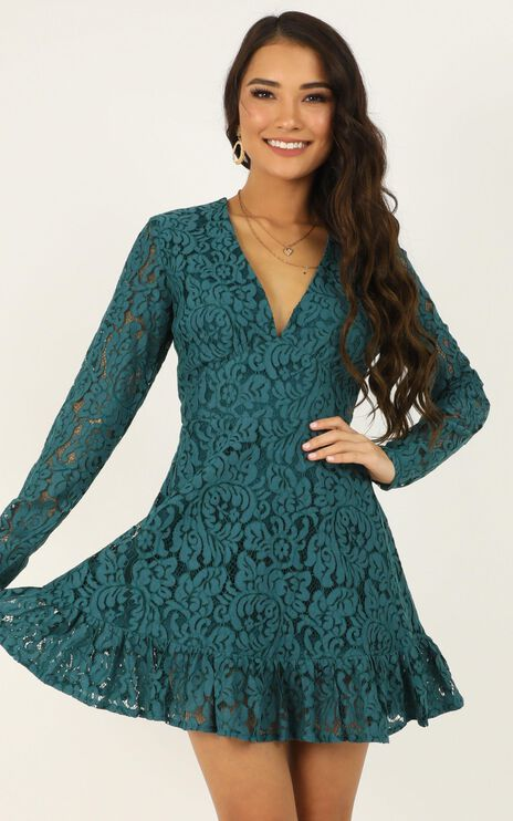 Love and Leave Dress In Teal Lace