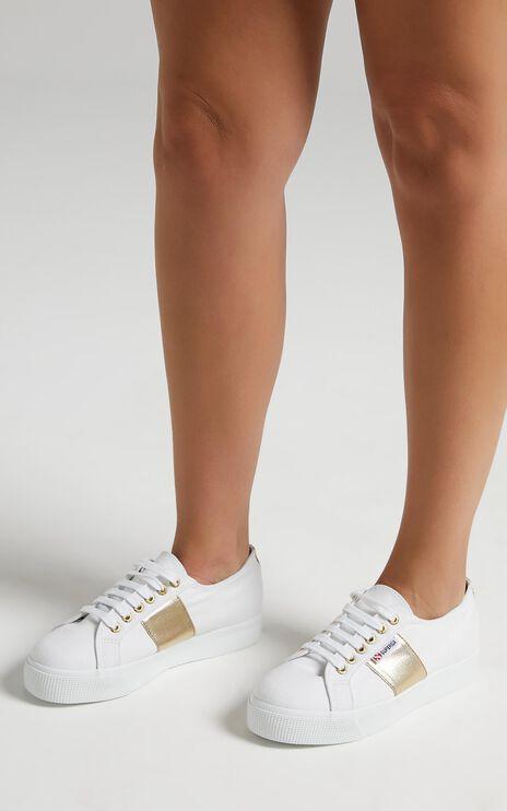 Superga - 2730 COTCOTMETW Platform Sneaker in white - gold