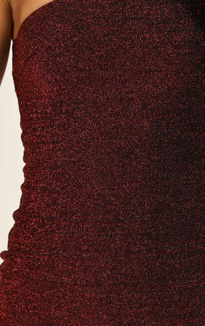 I Do What I Want Dress In Wine Lurex - 16 (XXL), Wine, hi-res image number null