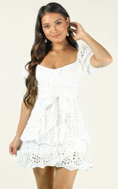 Missed Opportunity Dress In White Lace