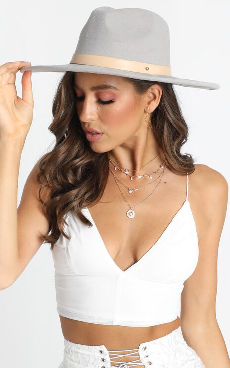Kyla Felt Hat in Grey