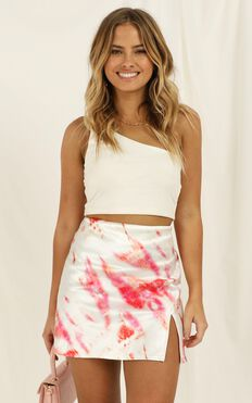 House In The Hills Skirt In Pink Tie Dye Satin