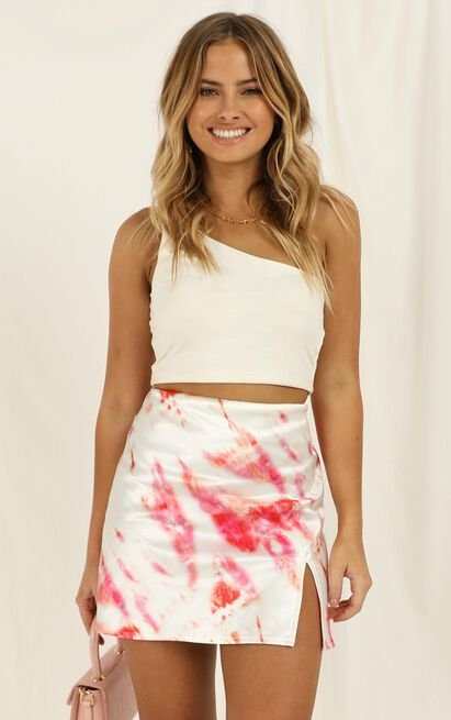 House In The Hills Skirt In Pink Tie Dye Satin - 4 (XXS), Pink, hi-res image number null