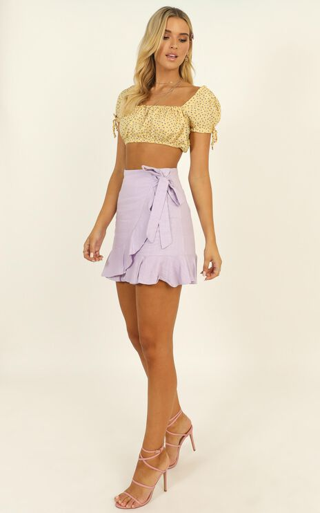Over And Under Skirt In Lilac Linen Look
