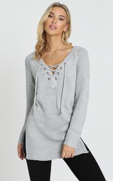 Sewn In Knit Sweater in Grey