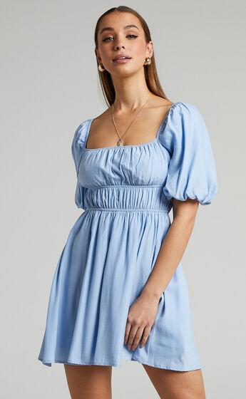 Maretta Stretch Waist Square Neck Mini Dress in Blue