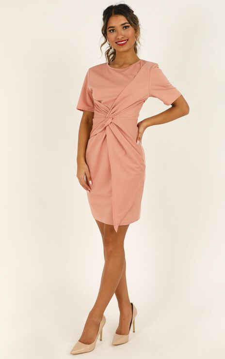 Works A Charm Knot Dress In Blush