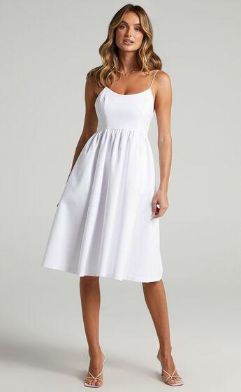 Wild Nights A-line Spaghetti Strap Dress in White