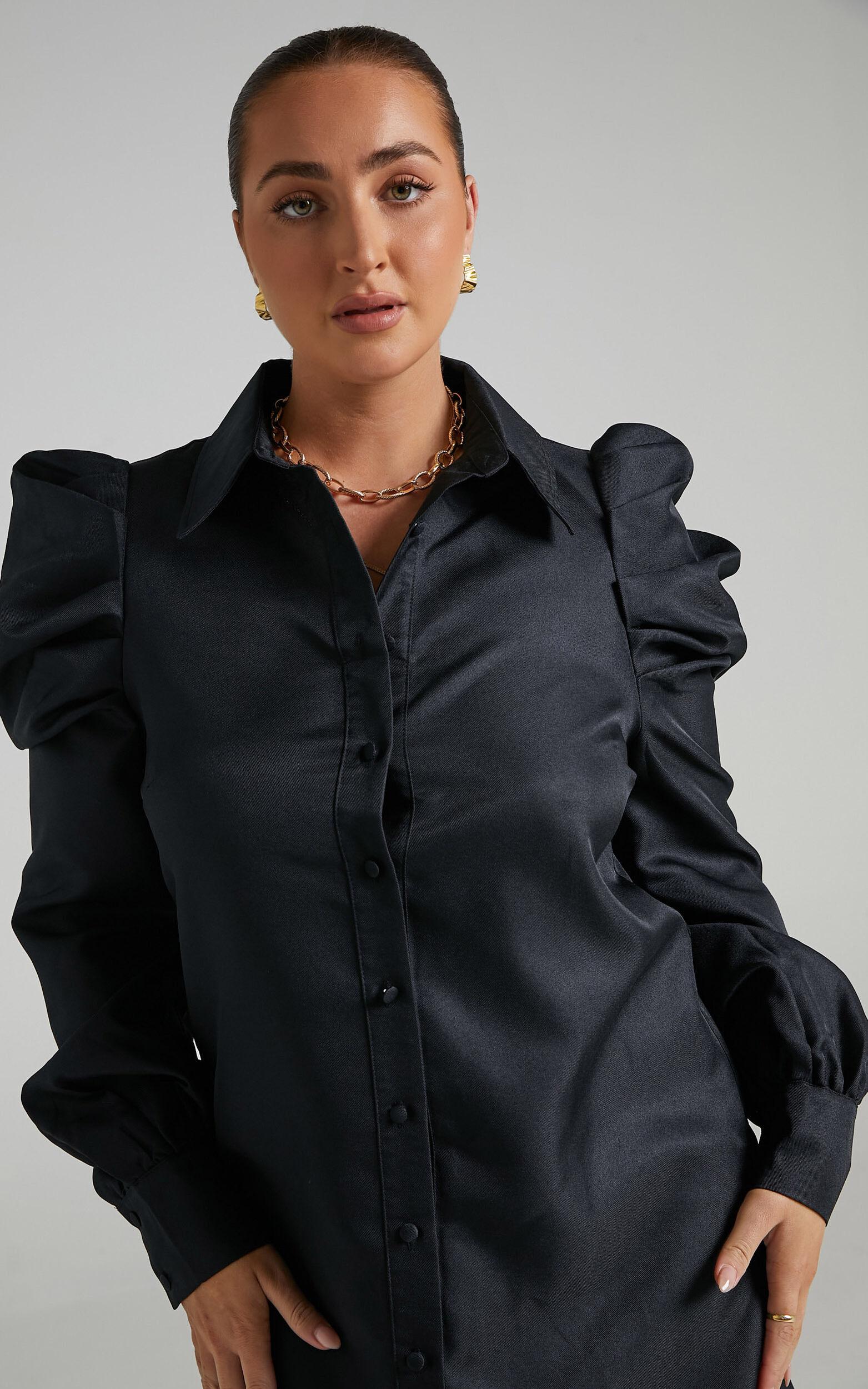 Jordie Mini Puff Sleeve Dress in Black - 06, BLK1, super-hi-res image number null