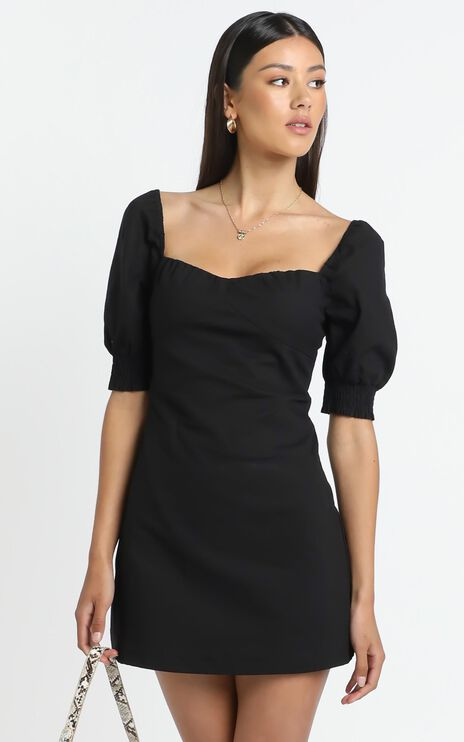 Sneaky Chatter Dress in Black Linen Look