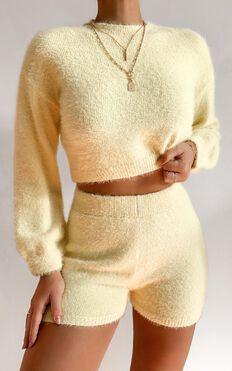 Loretta Fluffy Knit Two Piece Set in Yellow