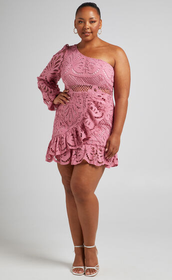 Kiss Me Quick One Shoulder Dress in Dusty Rose