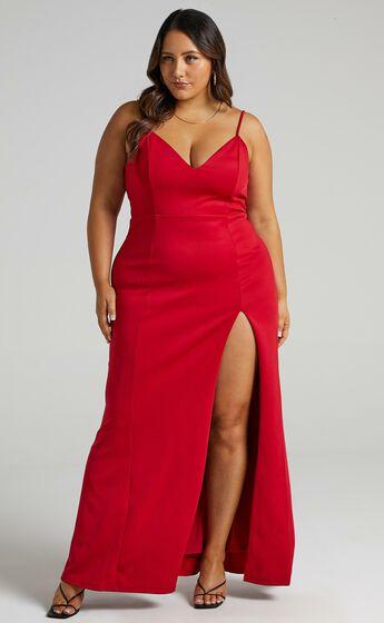 Dare To Dream Split Maxi Dress in Red