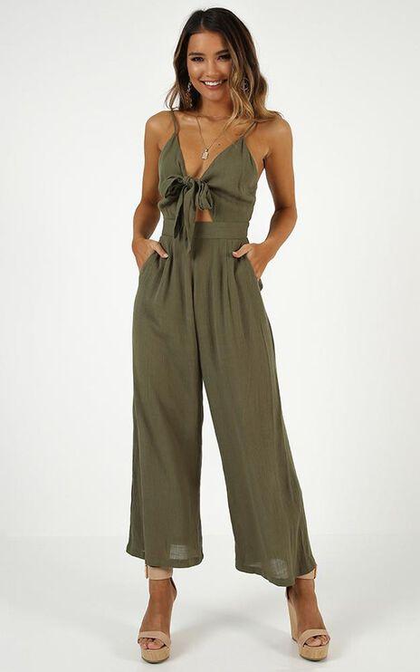 Renewed Jumpsuit In Khaki Linen Look