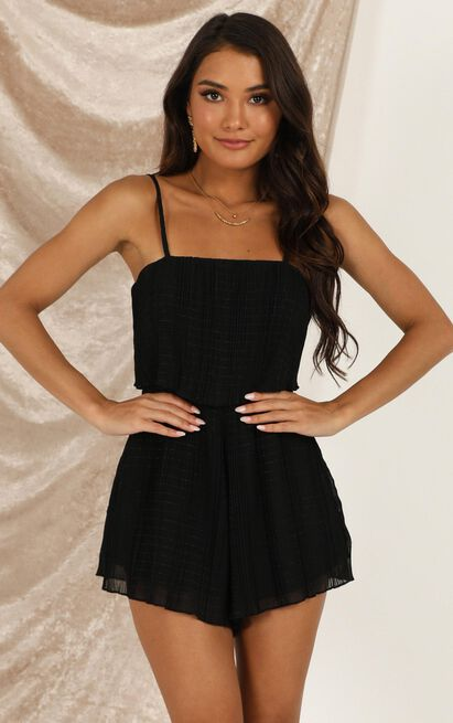 Got The Love For You Playsuit in black pleat - 20 (XXXXL), Black, hi-res image number null